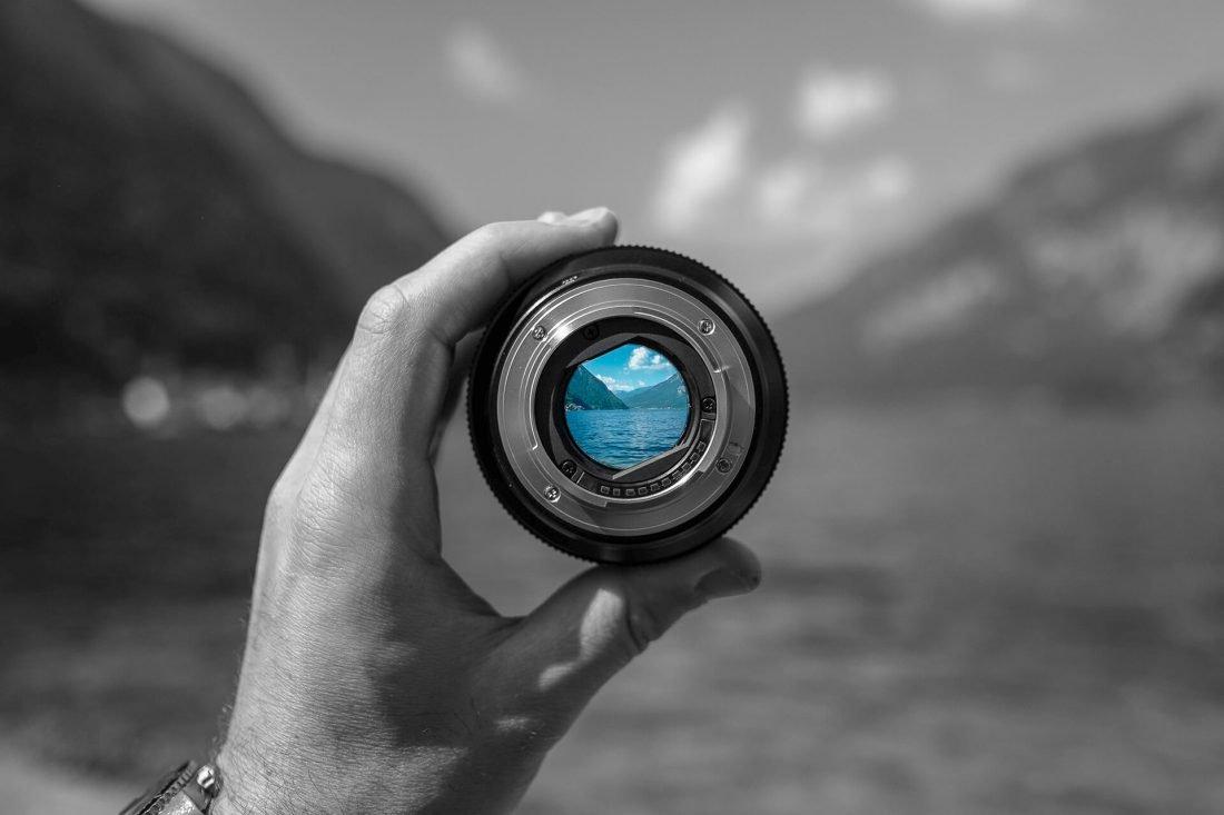 Lens looking at lake